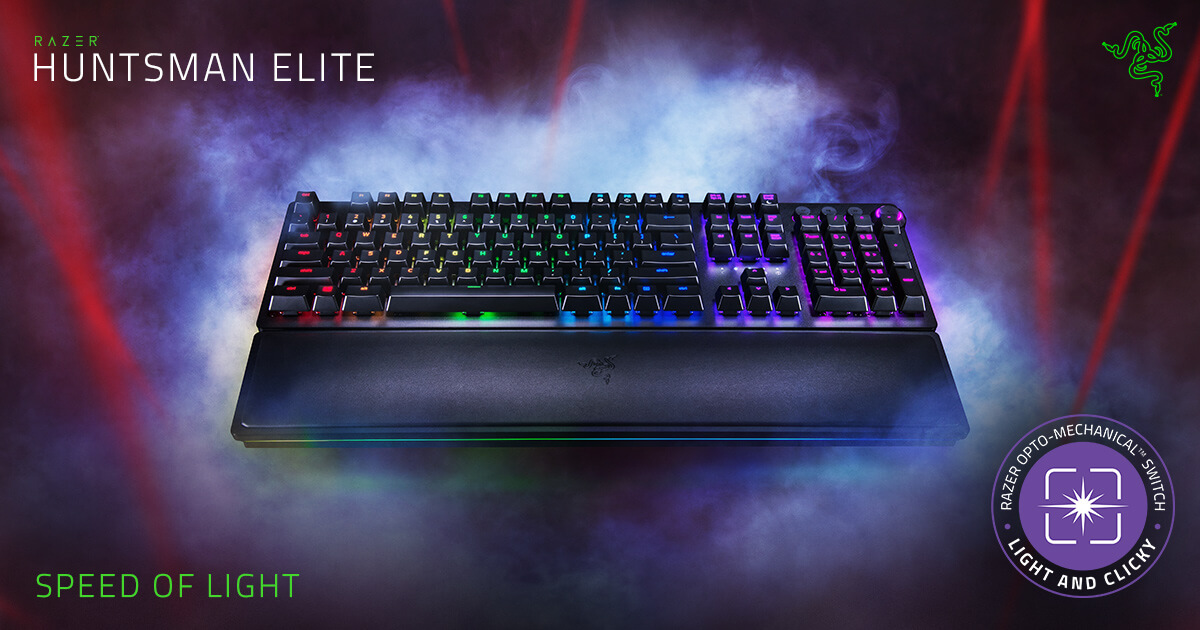 Razer Huntsman Elite - Opto-Mechanical Switch Keyboard with Wrist Rest and  Media Keys 05c35c098dc4f
